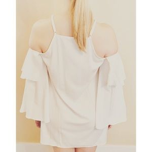 White Cold-Shoulder Dress with Bell Sleeves (Med)